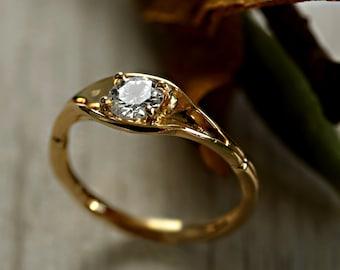 Diamond Twig Engagement Ring - 18 Yellow Gold Diamond Engagement Ring - 0.30 ct Diamond Leaf Engagement Ring - Handmade to Order