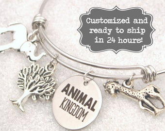 Animal Kingdom Engraved -  DISNEY Inspired, Walt Disney World Tree of Life, Elephant, Giraffe, Custom Name Charm Bracelet, Adjustable Bangle