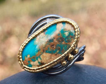 Turquoise ring, oval ring , stacking ring, statement ring , gemstone ring, december birthstone ring, gift for her , mother's ring