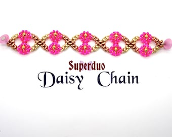 Tutorial Superduo Daisy Chain Bracelet. Instant Pattern Downloadpdf. Suitable for all levels. Original design by Butterfly Bead Kits