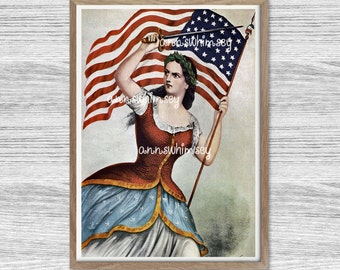 Living Room Art, Family Room Art, Patriotic Art, Civil War Art  Restored Antique Print #74
