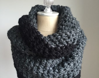 Chunky Knit Infinify Scarf | Colorblock Style # 1010 | choose your color | double loop | cozy warm | wool blend | charcoal black