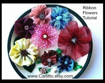 Sewing pattern, TUTORIAL, Ribbon Flowers. Make them  out of ribbon or torn strips of fabric, large or small flowers, instant download
