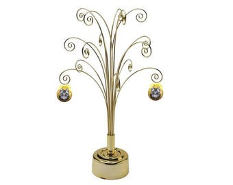 Metal Artificial Christmas Tree Ornament Display Rotating Stand 16.75inch Gold Color