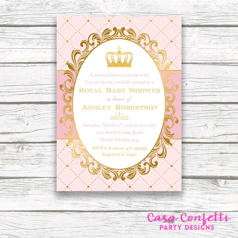 Princess Baby Shower Invitation, Royal Baby Shower Invitation, Crown ...