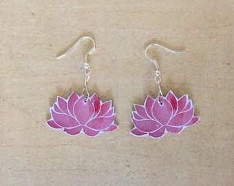 Lotus Flower Earrings // Yoga Earrings // Yoga gift // Floral Earrings // Pink Flower Earrings