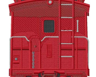 Caboose Back Embroidered on Hand Towel or Tea Towel
