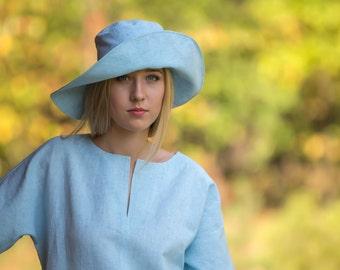 Linen Hat/ Eco sun hat/ Linen head cover/ Wide brims linen hat/ Sun hat/ Summer hat/ Blue hat/ Beach wear hat