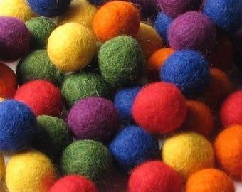 Collection - 60PC Piece COLOR WHEEL Felt Balls