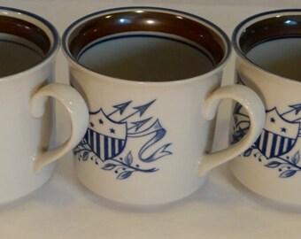 Set of Five Vintage Salem Stoneware with Federalist Crest Mugs