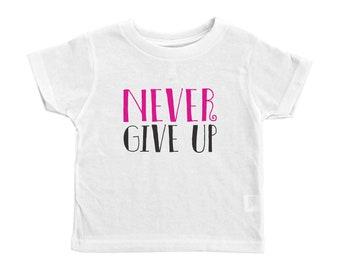 Cancer Awareness Toddler Crew Neck, Never Give Up Kids Tee, Kids Tshirt, Kids Shirt, Never Give Up Crew Neck Tee, Never Give Up Toddler Tee