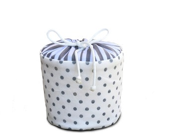 Gray Polka Dots and Stripes -Fabric Spare Toilet Paper Holder, Cozy or Cover