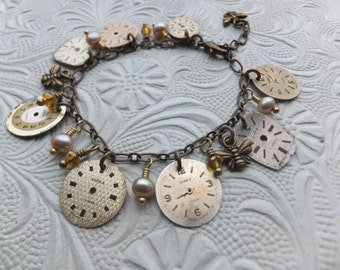Vintage Watch Face Charm Bracelet, Gold, Champagne, Cream, Freshwater Pearls, Repurposed, Upcycled, Sustainable, Steampunk, Clock, Bees
