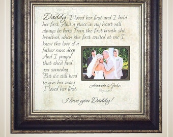 Father Daughter Gift, Father of Bride Gift, Mother Daughter Gift, Mom Daughter, I LOved Her First, 16x16