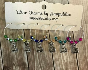 6 Wine Charms, Easter Bunny Wine Charm, Easter Wine Charms, Wine Accessory, Party Favors, Wine Glass Charm, Easter, Easter Bunny, Easter Egg