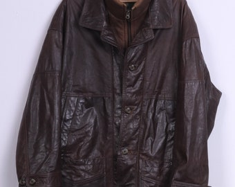 Murrey Mens 54 2XL Leather Jacket Brown Full Zipper