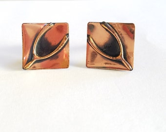 Vintage Wishbone on Copper Square Cuff Links
