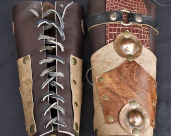 Medieval bracelets OOSWALD leather and metal