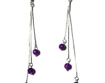 Dangle earrings bead purple, thin, lightweight, serpentine chain / gift/birthday
