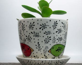 Planter with overflow saucer Succulent Planter Pottery Ceramic Hand Painted Ready to ship