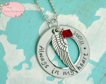 Personalized Hand Stamped Memorial Washer Necklace with Angel Wing Charm and Birthstone - Always In My Heart