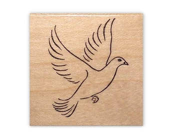 Dove Mounted rubber stamp, bird, peace, faith symbol, flying, Sweet Grass Stamps No.11