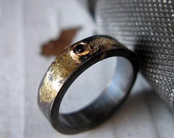 SALE Raw Diamond Ring Size 6 Rose Cut Diamond Ring Unique Engagement Ring Alternative Engagement Ring Black Diamond Ring Unique Wedding Band
