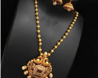 Beautiful ruby pendant set with jhumka
