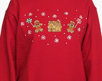 Gingerbread Boy Girl House Christmas Sweatshirt Unique Custom Women's Cute Hand painted Embroidered  V-neck T shirt Cindy's Shirts Boutique