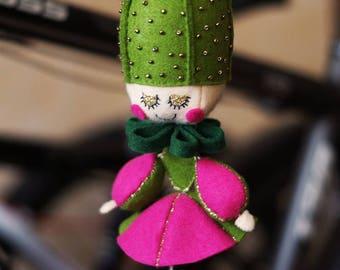 Cactus doll, a felt doll, a cactus on the head, sewn hand-made, on a pendant