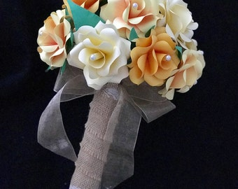 Yellow Rose Wedding Bouquet, Yellow Rose Bouquet, Yellow Bridal Bouquet, Yellow Flower Bouquet, Paper Flower Bouquet, Yellow Paper Flowers
