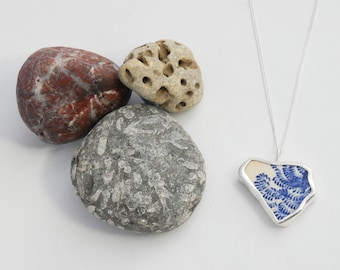 Recycled Sterling Silver & Beautiful Leaf-Pattern Sea Pottery/Sea China Necklace
