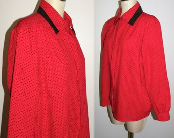 1980's 80s Red & Black Polka Dot Silky Blouse / Classic Career Wear to Work /  Vintage  fits L - XL