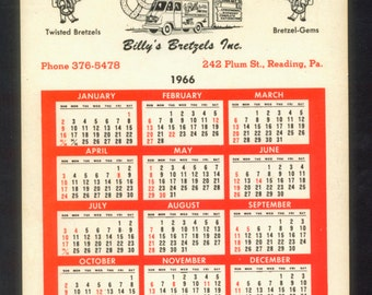1966 Calendar - Billy's Bretzels Advertisement - Collectible, Birthday Gift, Handmade Card, Altered Book
