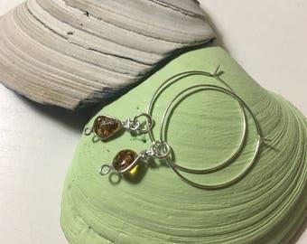Sterling silver amber hoop earrings