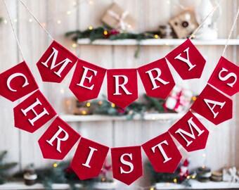 Merry Christmas Banner,  Christmas Garland, merry christmas sign, Burlap Bunting, Christmas Garland, Christmas Decor Merry Christmas Bunting
