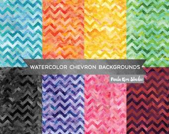 Chevron Digital Paper, Watercolor Chevron, Commercial Use Digital Paper