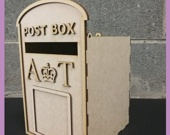 PERSONALISED Wedding Post Box, Party, Royal Mail Style - Flat Pack, Ready to Build & Decorate - POSTBOX for Cards