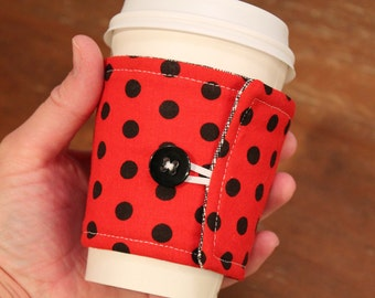 Fabric Coffee Cozy, Red with Black Dots Cozie, Iced Coffee, Fabric Coffee Sleeve, travel cup cozy, gift, Fits Starbucks to go cup