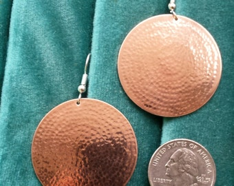Solid Copper Hammered Earrings