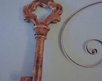 1 Vintage Solid Brass Fancy Door/Furniture Key for your Home Projects, Steampunk Art, Jewelry Making & etc..
