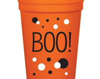 Boo! Halloween Favor- 16 oz. Reusable Plastic Stadium Cup- Minimum Purchase of 12 Cups!
