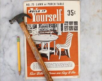 DIY Build it Yourself Patio Table Pattern / 1950's Easi-bild / Mid Century Patio Furniture Guide