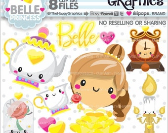 Princess Clipart, 80%OFF, Princess Graphics, COMMERCIAL USE, Planner Accessories, Princess Party, Fairytale, Cute Graphis, Princess Yellow