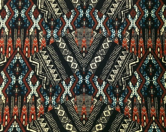 Dark Tribal Large Pattern on Stretch ITY Polyester Spandex Fabric - 58 to 60 Inches Wide - By the Yard or Bulk