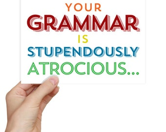 English Grammar Geekery Gift - Language Arts Teacher Gift / Gifts for Teachers Rainbow Colorful Card English Gifts Gag Gift