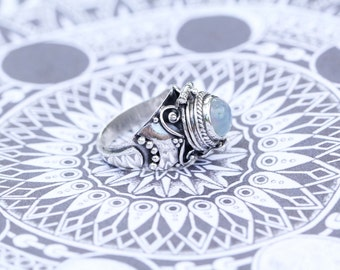 Rainbow Moonstone Locket Ring, Ring, Silver Rings, Boho, Secret Compartment Ring, Poison Ring, 925 Sterling Silver Ring, Moonstone, Don Biu