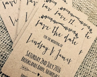 12 x Vintage/Rustic/Shabby Chic Wedding Mini Save the Date cards with envelopes