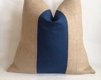 Blue Linen/Cotton Fabric and Natural Burlap Pillow Cover