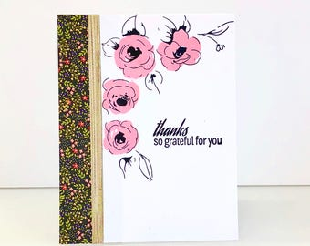 Handmade Thank You Card. Stamped floral thank you card. Rose card